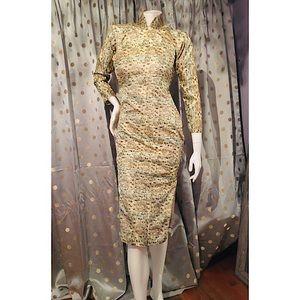 Vintage Cheongsam Fitted Midi Dress
